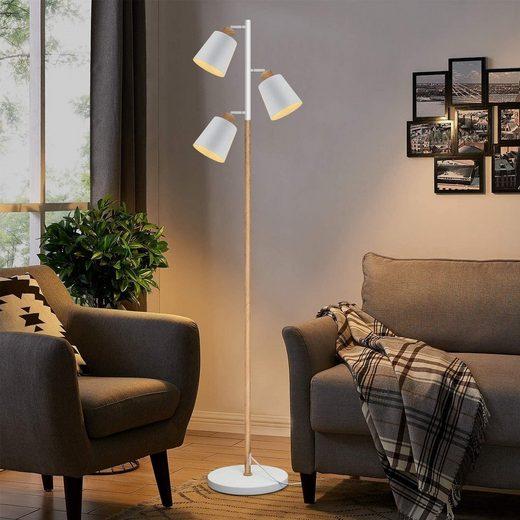 ZMH Stehlampe »Modern Stehlampe Stehleuchte Wohnzimmer mit 3 Flammig schwenkbare für Schlafzimmer und Arbeitszimmer E27 Fassung je max 25W, Höhe: 166cm Weiß und Holzfarbe Standleuchte Wohnzimmerlampe«