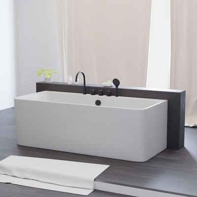 TroniTechnik Badewanne »Badewanne Saria«, (3-tlg), Inkl. Armaturen in schwarz, Handbrause und 1,5m Brauseschlauch und Push To Open Abfluss