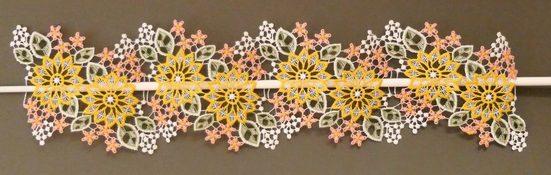 Scheibengardine »Blüten«, Stickereien Plauen, Stangendurchzug (1 Stück)