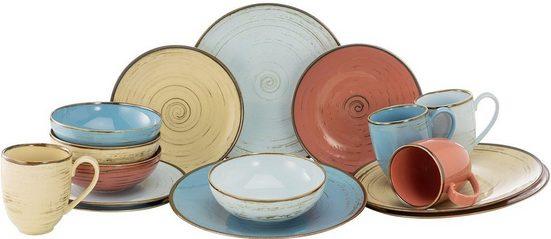 CreaTable Kombiservice »Cottage Brush« (16-tlg), Porzellan, 4 Farben im Set