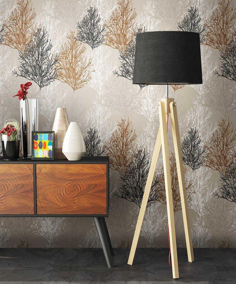 Newroom Papiertapete Blumentapete Braun Wallpaper Floral Blumen Tapete Pflanzen Wohnzimmer Schlafzimmer Buro Flur Online Kaufen Otto