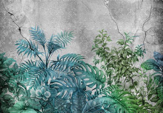 CONSALNET Vliestapete »Pflanzen auf Beton«, in verschiedenen Größen