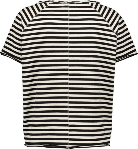 Monari Sweatshirt gestreift mit Fotoprint und Glitzer-Details