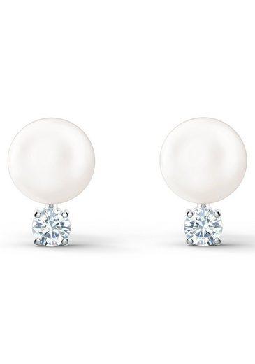 Swarovski Paar Ohrstecker »Treasure Pearl Ohrringe, weiss, rhodiniert, 5559420«, mit Swarovski® Kristallen und Swarovski® Perlen