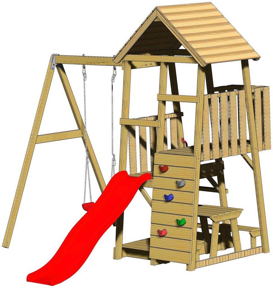 Spielturm Gorilla – Rutsche Schaukel und Kletterwand*