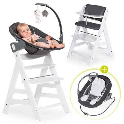 Hauck Hochstuhl »Alpha Plus Weiß - Newborn Set« (4 Stück), Holz Babystuhl ab Geburt mit Liegefunktion - inkl. Aufsatz für Neugeborene, Sitzpolster