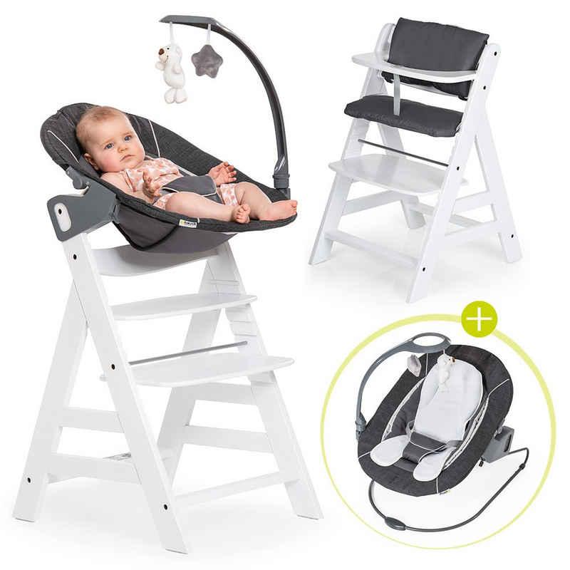 Hauck Hochstuhl »Alpha Plus Weiß - Newborn Set« (Set, 4 Stück), Holz Babystuhl ab Geburt mit Liegefunktion - inkl. Aufsatz für Neugeborene, Sitzpolster