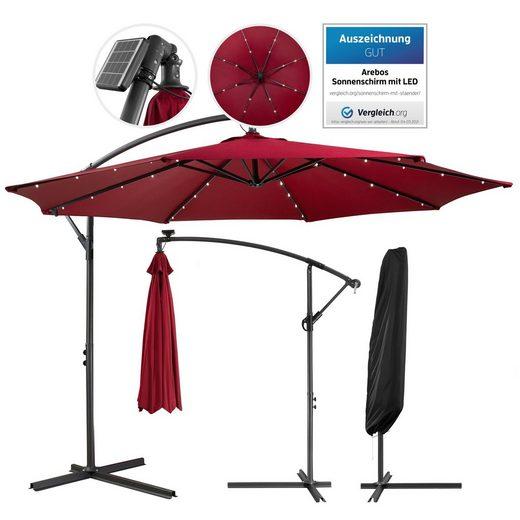 Arebos Sonnenschirm »Luxus Ampelschirm Gartenschirm mit LED Beleuchtung Ø3m Wasserabweisend«, Set, ohne Wegeplatten