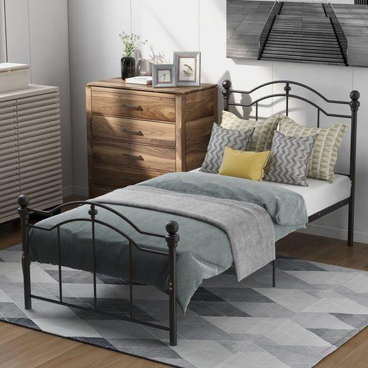 Masbekte Metallbett, Gebogenes Metalbett mit zwei Kopfteilen, für Schlafzimmer und Gästezimmer, 200x90cm