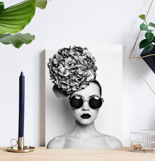 queence Acrylglasbild »Frau mit Blumenhut«