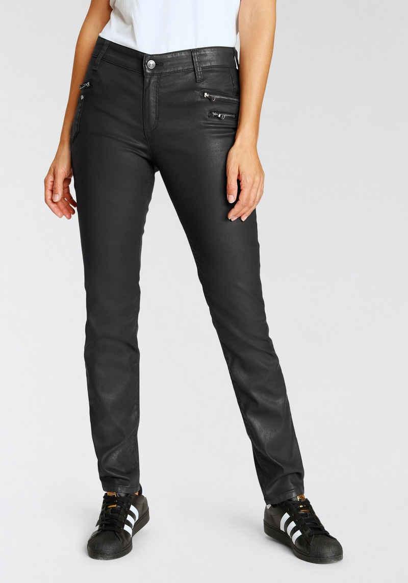MAC Slim-fit-Jeans »Slim-Funktion« Beschichtetes Materail mit dekorativen Reißverschlüssen und Nieten