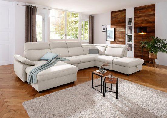 Home affaire Wohnlandschaft »Mauritius«, mit Kopfteil- und Armlehnverstellung, wahlweise mit Bettfunktion und Bettkasten