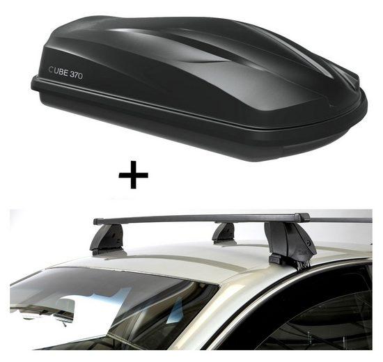 VDP Fahrradträger, Dachbox CUBE370 370 Liter schwarz glänzend + Dachträger K1 MEDIUM kompatibel mit Daihatsu Cuore (5Türer) ab 07