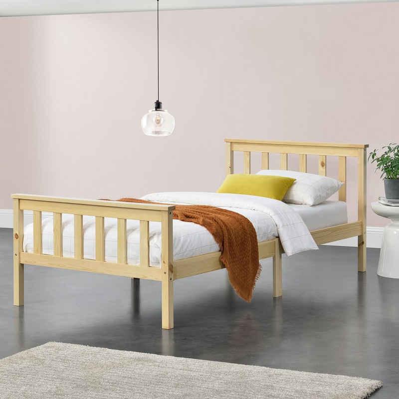 en.casa Holzbett, »Breda« Gästebett Jugendbett mit Lattenrost in verschiedenen Farben und Größen
