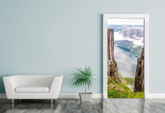 Bilderdepot24 Türtapete, Türaufkleber Blick auf Lysefjord vom Kjeragberg in Norwegen, selbstklebendes Vinyl