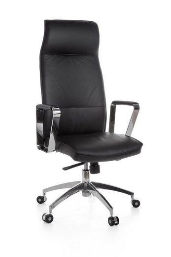 Amstyle Drehstuhl »SPM1.137« Bürostuhl Verona Echtleder Schwarz Schreibtischstuhl X-XL 120 kg Synchronmechanik Chefsessel Kopfstütze hoch