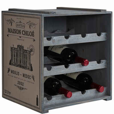 BUTLERS Weinregal »VINOTHEK Weinregal«, Weinschrank in Natur - Weinkiste aus Tannenholz - Flaschenregal, Holzregal, Weinständer