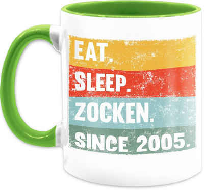 Shirtracer Tasse »Eat Sleep Zocken Since 2005 16 Geburtstag - Tasse Geburtstag - Tasse zweifarbig«, Keramik