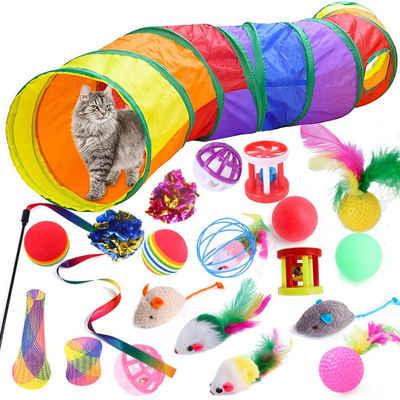 Rosnek Tier-Beschäftigungsspielzeug »21 STÜCKE Katzenspielzeug Set, Regenbogen Faltbar Tunnel, Katzentunnel, Katze Spielzeug«