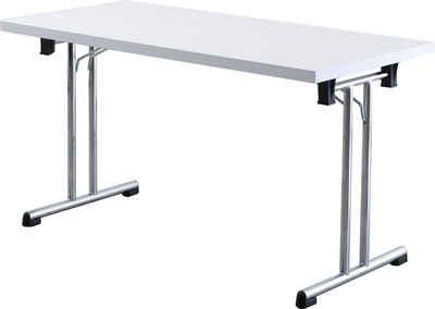 bümö Klapptisch »OM-KL14«, Konferenztisch, Stapeltisch, Besprechungstisch klappbar & stapelbar - Dekor: Weiß