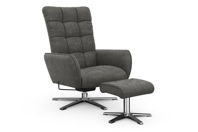 Sessel und Hocker - W.SCHILLIG Sessel »deXxter« (Spar Set, 2 St), Sessel mit Hocker, mit Wipp Dreh Funktion, mit Steppung am Rückenteil, Gestell Chrom glänzend  - Onlineshop OTTO