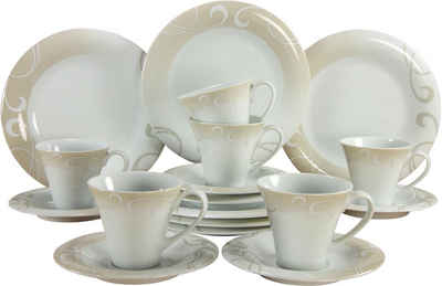 CreaTable Kaffeeservice »Soft Finesse« (18-tlg), Porzellan, Rankenornament