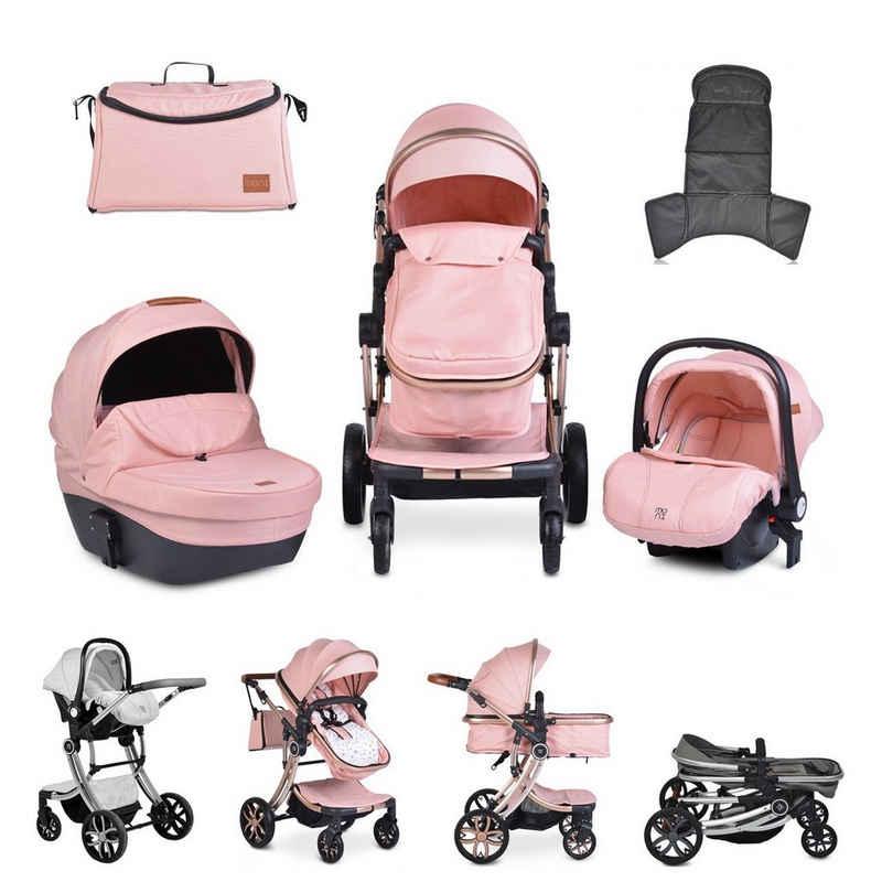 Moni Kombi-Kinderwagen »Kinderwagen Polly 3 in 1«, Babyschale, Babywanne, Sportsitz, klappbar, Tasche