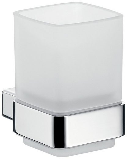 EMCO Komplett-Set: Zahnputzbecher »System 815«, Becher weiß, Rosette verchromt