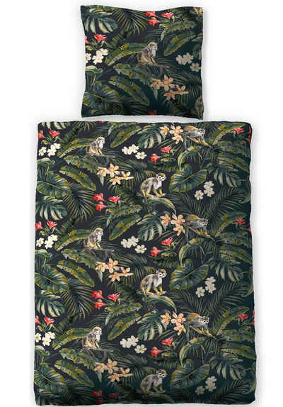 Bettwäsche, jilda-tex, mit tropischem Muster / Dschungelmotiv