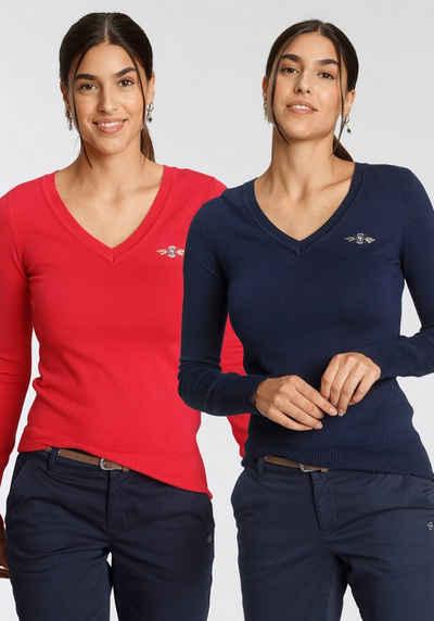 TOM TAILOR Polo Team V-Ausschnitt-Pullover (Packung, 2er-Pack) im attraktiven Doppelpack