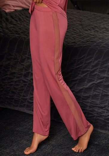 LASCANA Pyjamahose mit Seitenstreifen aus transparenter Spitze