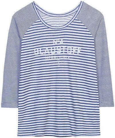 Herrlicher Rundhalsshirt »ANGELIKA« Streifenoptik trifft auf Logo-Blaustoff-Statement-Print