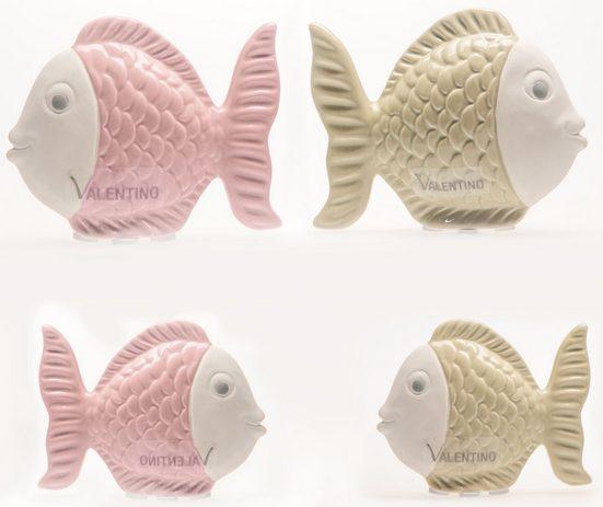 VALENTINO Wohnideen Tierfigur »Fisch Jette« (Set, 4 Stück), aus Keramik, glasiert