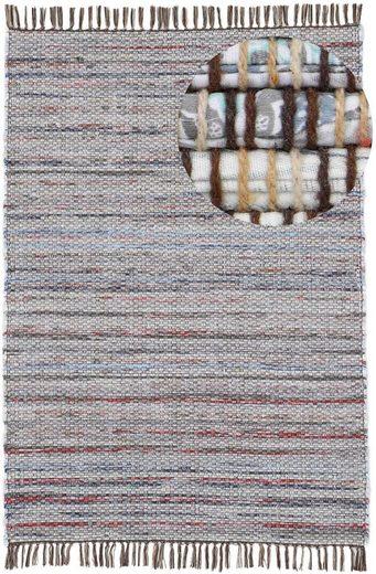 Teppich »Kelim Chindi«, carpetfine, rechteckig, Höhe 6 mm, Flachgewebe Wendeteppich mit Fransen, Wohnzimmer