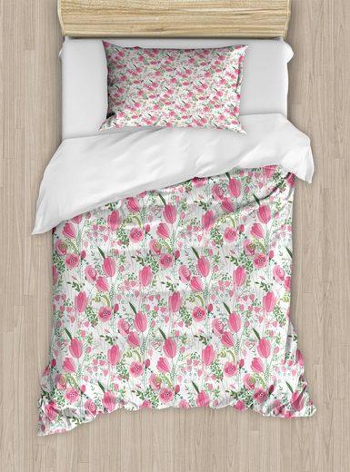 Bettwäsche »Top Qualität Weich und Warm 3 Teiligen Bettbezug mit 1 Kissenbezüge«, Abakuhaus, Blumen Verführerische Tulpen Greenery Kunst