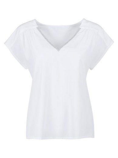 Ambria Bluse mit silberfarbenem Zierband am Ausschnitt