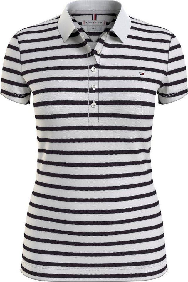 tommy hilfiger -  Poloshirt »Short Sleeve Slim Polo Stripe« mit allover Ringel &  Logo-Flag