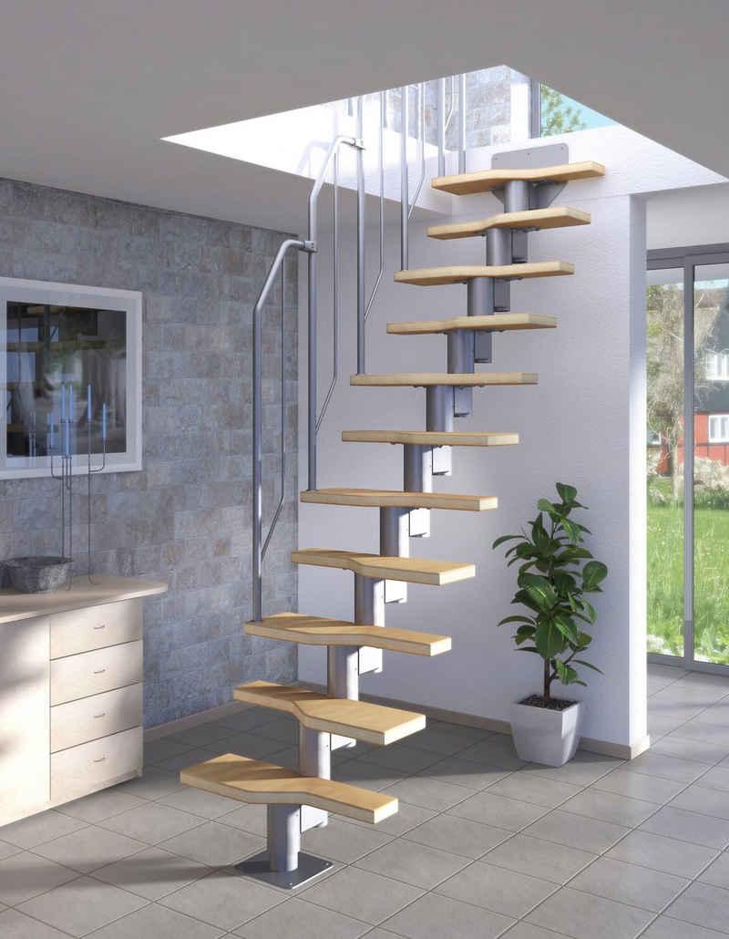 Dolle Systemtreppe, für Geschosshöhen bis 270 cm, Stufen offen, Buche