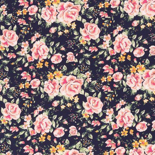 larissastoffe Stoff »Jersey Stoff Blumen Rosen, Swafing Jonne dunkelbla«, Stoffe zum Nähen, Meterware, 50 cm x volle Breite