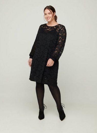 ZAY Spitzenkleid Große Größen Damen Langarm Kleid mit Rundhals