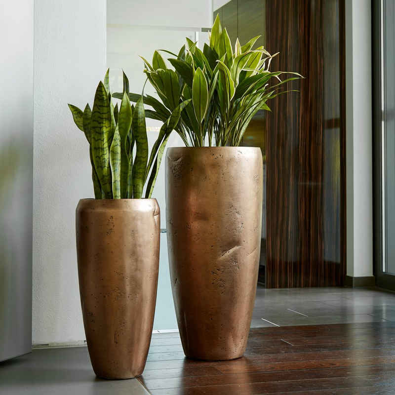 Flingora Bodenvase »Ivy«, mit Einsatz - Fiberglas Pflanzvase - Indoor - Gebrochen Bronze - Höhe 65 cm / Ø 31 cm