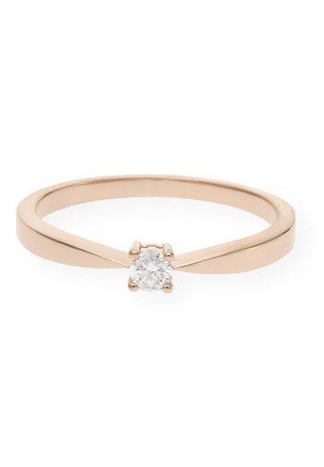 JuwelmaLux Goldring »Verlobungsring Gold Damen mit Diamant(en)« (1-tlg), Rotgold 585/000, inkl. Schmuckschachtel