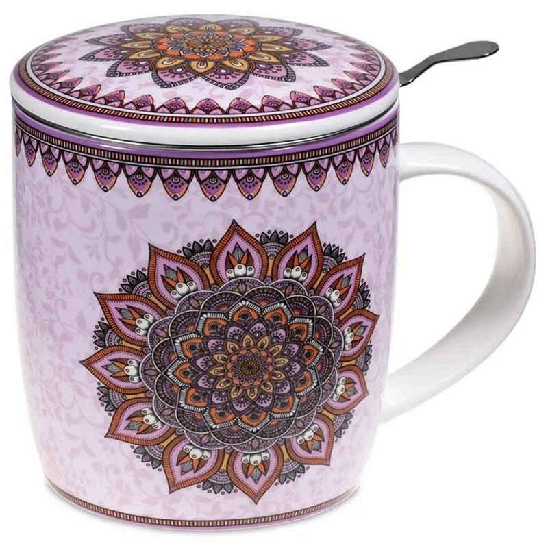 yogabox Tasse »Set Teetasse Mandala lila«, Bone China-Porzellan