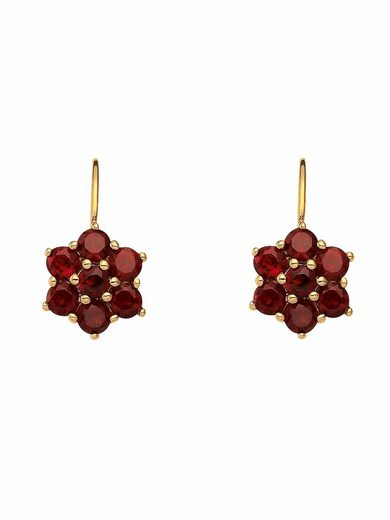 Adelia´s Paar Ohrhänger »333 Gold Boutons mit Granat«