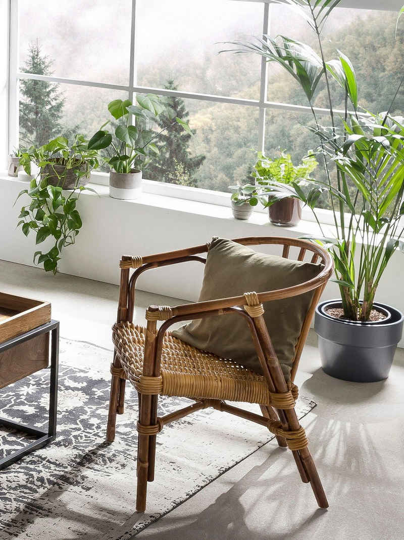 SIT Sessel, aus recyceltem Holz und Rattan