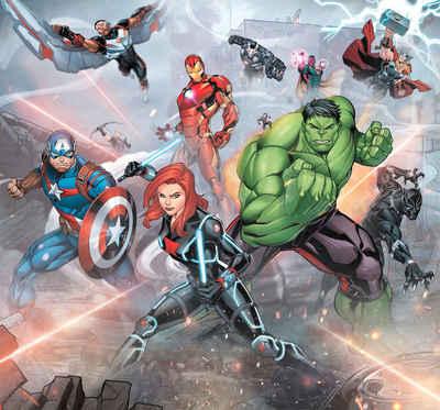 Komar Fototapete »Avengers Street Revenge«, glatt, bedruckt, Comic, Retro, mehrfarbig, BxH: 300x280 cm