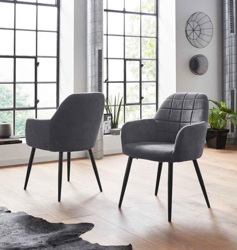 INOSIGN Armlehnstuhl »Mara« (Set, 2 Stück), (1 oder 2 Stück), Bezug in Webstoff, Gestell aus Metall in schwarz