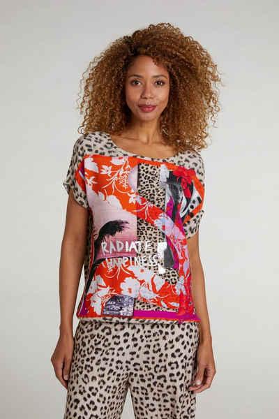 Oui Kurzarmbluse »Blusenshirt mit Foto- und Animal Patch« Elastischer Bund