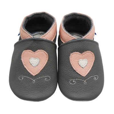 Yalion »Weiche Leder Lauflernschuhe Hausschuhe Lederpuschen Herz Grau 100% Leder« Krabbelschuh