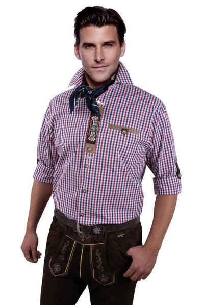 Moschen-Bayern Trachtenhemd »Trachtenhemd Herren kariert Stickerei Edelweiß Wiesn-Hemd zur Lederhose Karo Herrenhemd Langarm Kurzarm Rot-Blau«